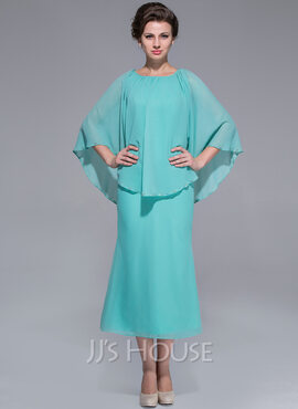 A-Line/Princess Scoop Neck Tea-Length Chiffon Mother of the Bride Dress (008025759)