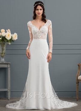 Trumpet/Mermaid V-neck Court Train Chiffon Wedding Dress With Beading (002145315)
