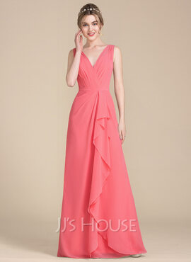 A-Line/Princess V-neck Floor-Length Chiffon Bridesmaid Dress With Cascading Ruffles (007104733)