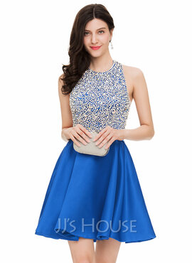 A-Line/Princess Halter Short/Mini Satin Homecoming Dress With Beading Sequins (022163110)
