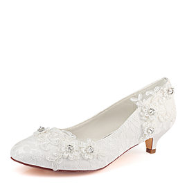 Women's Lace Silk Like Satin Kitten Heel Closed Toe With Stitching Lace Crystal (047182278)