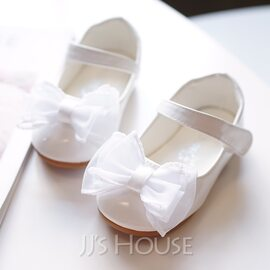 Girl's Round Toe Closed Toe Leatherette Flat Heel Flats Flower Girl Shoes With Bowknot Velcro (207176661)