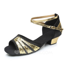 Kids' Satin Leatherette Heels Sandals Latin With Ankle Strap Dance Shoes (053092249)