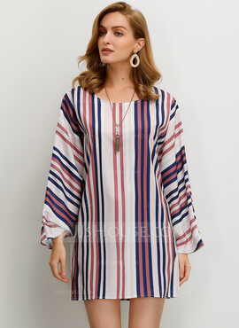 Long Sleeves Cotton Round Neck Blouses (1003223523)