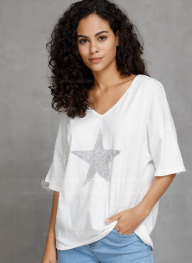 1/2 manches Coton Col V Tricot Blouses (1003223676)