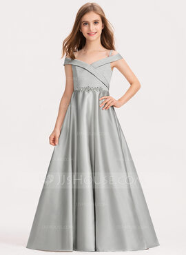 Ball-Gown/Princess Off-the-Shoulder Floor-Length Satin Junior Bridesmaid Dress (009191740)