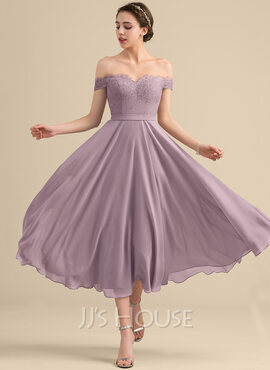 A-Line/Princess Off-the-Shoulder Tea-Length Chiffon Lace Bridesmaid Dress With Beading Sequins (007153311)