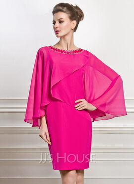 Sheath/Column Scoop Neck Knee-Length Chiffon Mother of the Bride Dress With Beading (008056883)