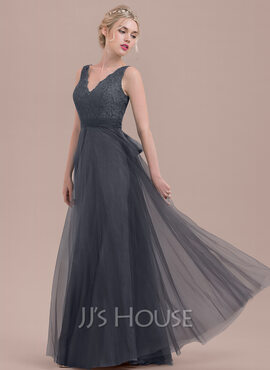 A-Line/Princess V-neck Floor-Length Tulle Lace Bridesmaid Dress With Bow(s) (266183736)