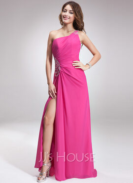 A-Line/Princess One-Shoulder Sweep Train Chiffon Holiday Dress With Ruffle Beading Split Front (020026023)