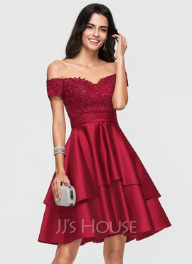 A-Line Off-the-Shoulder Knee-Length Satin Prom Dresses With Lace Sequins (018192828)
