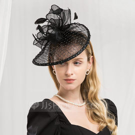 Ladies' Fashion/Glamourous/Elegant Cambric With Feather Fascinators/Kentucky Derby Hats/Tea Party Hats (196187237)