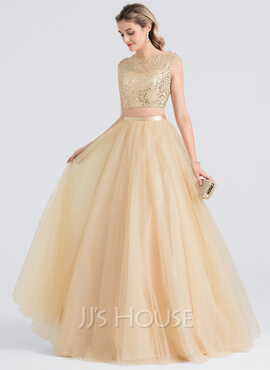 Ball-Gown/Princess Scoop Neck Floor-Length Tulle Prom Dresses (018147835)
