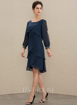 A-Line Scoop Neck Asymmetrical Chiffon Mother of the Bride Dress With Beading Cascading Ruffles (008179182)