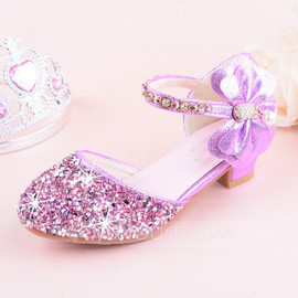 Girl's Round Toe Closed Toe Leatherette Sparkling Glitter Low Heel Flats Flower Girl Shoes With Bowknot (207185205)