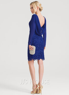 Sheath/Column Scoop Neck Knee-Length Lace Cocktail Dress With Ruffle (016150187)