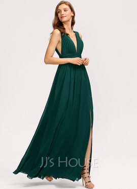 A-Line V-neck Floor-Length Bridesmaid Dress (007221207)