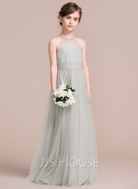 A-Line Floor-length Flower Girl Dress - Tulle Sleeveless Scoop Neck (010113818)