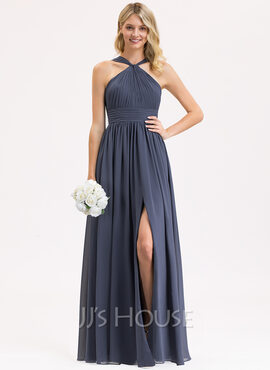 A-Line V-neck Floor-Length Chiffon Bridesmaid Dress With Ruffle Split Front (007206462)