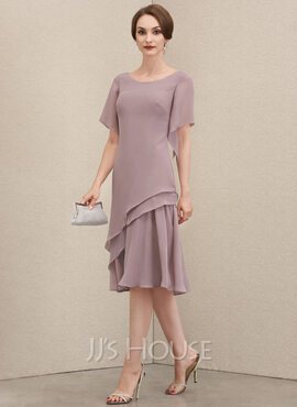 A-Line Scoop Neck Knee-Length Chiffon Mother of the Bride Dress With Cascading Ruffles (008204896)