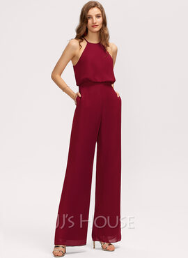 Jumpsuit/Pantsuit Scoop Neck Floor-Length Chiffon Bridesmaid Dress With Pockets (007221217)