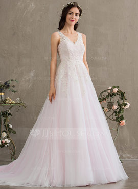 Ball-Gown/Princess V-neck Court Train Tulle Wedding Dress With Beading Sequins (002186369)
