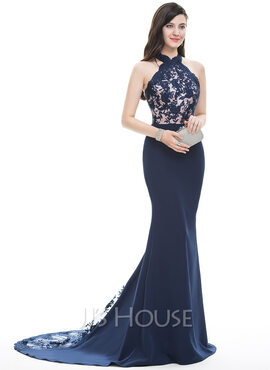 Trumpet/Mermaid Halter Court Train Satin Prom Dresses (018105684)