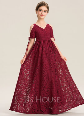 A-Line V-neck Floor-Length Lace Junior Bridesmaid Dress With Ruffle Bow(s) (009173312)