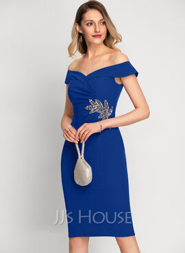 Sheath/Column Off-the-Shoulder Knee-Length Stretch Crepe Cocktail Dress With Beading (016212844)