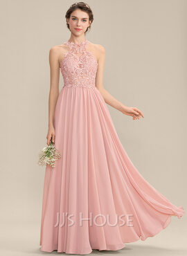 A-Line Scoop Neck Sweep Train Chiffon Lace Prom Dresses With Sequins (018229941)