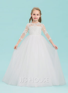 Ball-Gown/Princess Floor-length Flower Girl Dress - Tulle 3/4 Sleeves Scoop Neck (010143234)