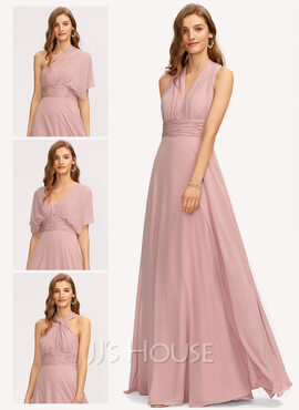 A-Line V-neck Floor-Length Chiffon Bridesmaid Dress With Ruffle (007221209)