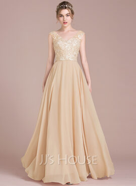 A-Line/Princess V-neck Floor-Length Chiffon Lace Prom Dresses (018116384)