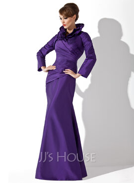 Trumpet/Mermaid High Neck Floor-Length Taffeta Mother of the Bride Dress With Ruffle (008006080)
