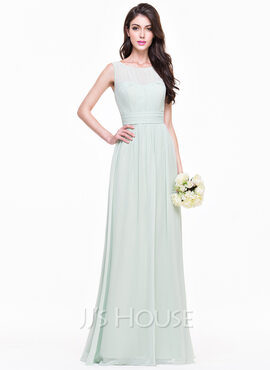 A-Line/Princess Scoop Neck Floor-Length Chiffon Bridesmaid Dress With Ruffle (266176964)