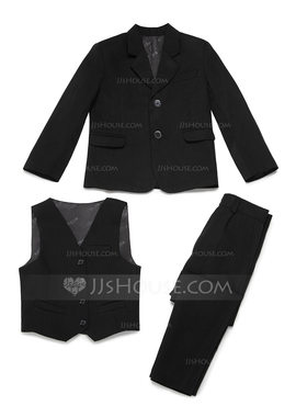 Boys 3 Pieces Solid Ring Bearer Suits /Page Boy Suits With Jacket Vest Pants (287199763)
