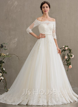 Ball-Gown/Princess Off-the-Shoulder Court Train Tulle Wedding Dress With Beading Sequins (002186378)