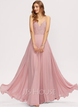 A-Line V-neck Floor-Length Chiffon Bridesmaid Dress (007221204)