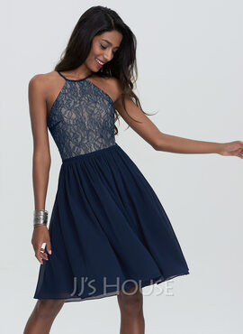 A-Line Scoop Neck Knee-Length Chiffon Homecoming Dress (022120474)