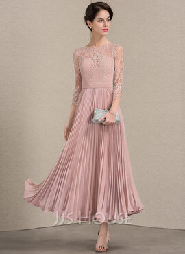 A-Line Scoop Neck Ankle-Length Chiffon Lace Mother of the Bride Dress With Pleated (008143377)