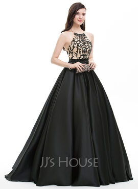 Ball-Gown Scoop Neck Sweep Train Satin Prom Dresses With Beading Sequins (018105563)