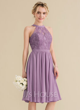 A-Line Scoop Neck Knee-Length Chiffon Lace Homecoming Dress (022165783)