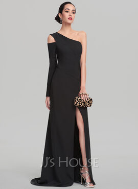 Sheath/Column One-Shoulder Sweep Train Stretch Crepe Evening Dress (017137549)