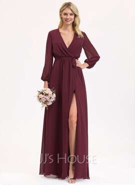 A-Line V-neck Floor-Length Chiffon Evening Dress With Ruffle Bow(s) Split Front (017221847)