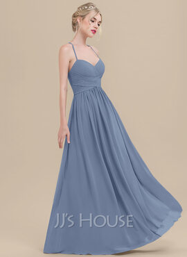 A-Line/Princess Sweetheart Floor-Length Chiffon Bridesmaid Dress With Ruffle (007116654)