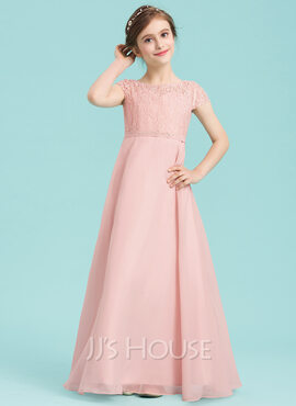A-Line/Princess Scoop Neck Floor-Length Chiffon Junior Bridesmaid Dress With Beading (009149003)