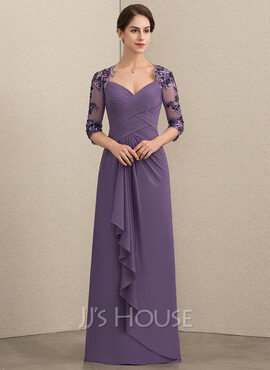 A-Line/Princess Sweetheart Floor-Length Chiffon Sequined Mother of the Bride Dress With Cascading Ruffles (008152147)