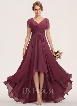 A-Line V-neck Asymmetrical Chiffon Lace Evening Dress With Ruffle (017237015)
