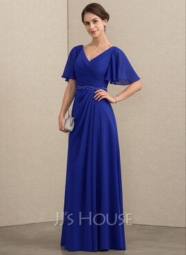 A-Line/Princess V-neck Floor-Length Chiffon Mother of the Bride Dress With Beading Sequins (008152157)