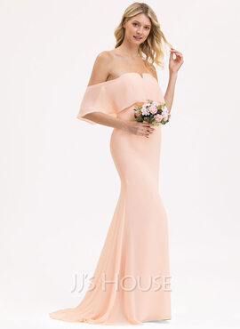 Trumpet/Mermaid Off-the-Shoulder Sweep Train Chiffon Bridesmaid Dress (007202423)